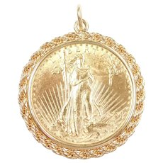 1924 $20 Saint Gaudens Coin Pendant 14k and 22k Gold