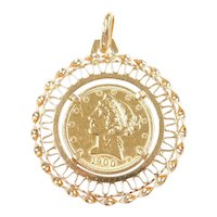 1900 $5 Liberty Head Coin Pendant 14k and 22k Gold