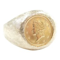 1853 Gold Dollar Coin Ring 14k and 22k Gold