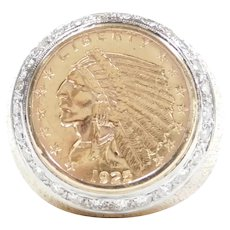 Diamond .75 ctw 1925 $2.50 Indian Head Coin Ring 14k and 22k Gold Two-Tone