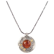 Amber and Citrine .58 ctw Necklace Sterling Silver by Jidae