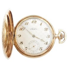 Art Deco La Rochette Geometric and Floral Etched Pocket Watch 14k Gold