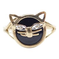 Black Onyx and Diamond .01 ctw Cat Ring 10k Gold Two-Tone