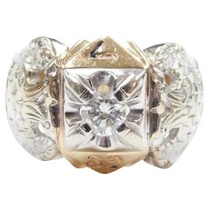 Gents Diamond .39 Carat Double Eagle Masonic 32 Ring 14k Gold Two-Tone