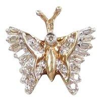 Diamond .21 ctw Butterfly Pendant 10k Gold Two-Tone