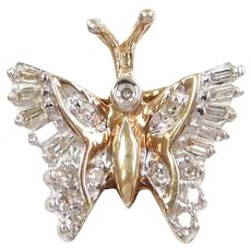 Diamond .21 ctw Butterfly Pendant 10k Gold Two-Tone