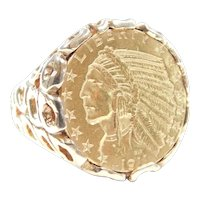 Indian Head Half Eagle 1911 Five Dollar Coin Ring 14k and 22k Gold