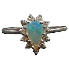 Vintage Natural Opal and Diamond .50 ctw Halo Ring 14k White Gold