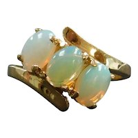 Vintage Opal 1.41 ctw Three Stone Bypass Ring 14k Gold