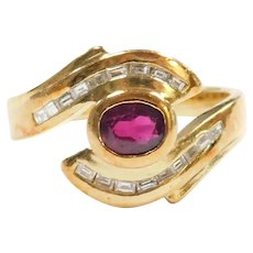 Ruby and Diamond .70 ctw Bypass Ring 18k Gold