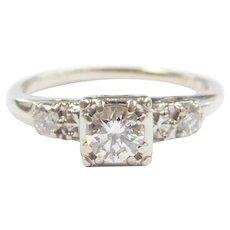 Vintage Diamond .61 ctw Engagement Ring 14k White Gold