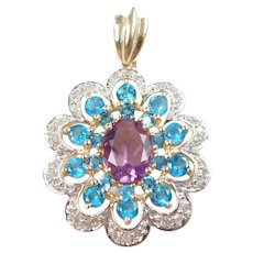 Amethyst, Faux Blue Topaz and Diamond 2.30 ctw Pendant 10k Gold Two-Tone