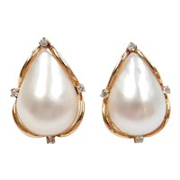 Mabe Pearl and Diamond .16 ctw Stud Earrings 14k Gold