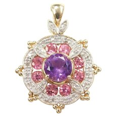 Amethyst, Pink Tourmaline and Diamond 2.49 ctw Pendant 10k Gold Two-Tone