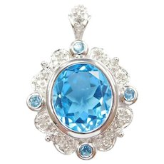 Swiss Blue Topaz and Diamond 8.00 ctw Pendant 10k White Gold