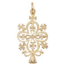 Clover Cross Pendant 18k Gold