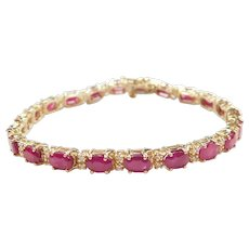 Natural Ruby and Diamond 13.64 ctw Tennis Bracelet 14k Gold