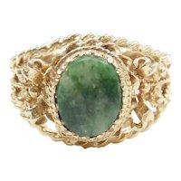 Ornate Jade Ring 14k Gold
