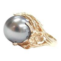 Tahitian Black Pearl Floral Ring 14k Gold