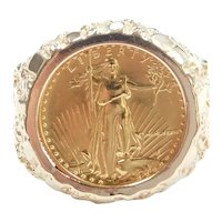 American Gold Eagle Coin Nugget Ring 5 Dollars 14k and 24k Gold