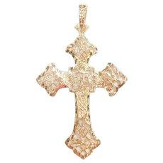 Big Filigree Cross Pendant 14k Gold
