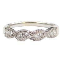 Diamond .33 ctw Twist Wedding Band Ring 10k White Gold