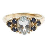 Aquamarine and Sapphire 1.62 ctw Ring 10k Gold