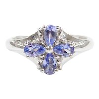Tanzanite and Diamond .90 ctw Four Leaf Clover / Flower Ring 10k White Gold