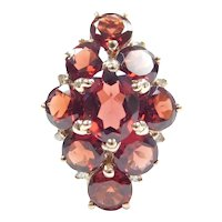 Garnet and Diamond 6.74 ctw Navette Cluster Ring 10k Gold