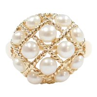 Cultured Pearl Domed Circle Ring 10k Gold