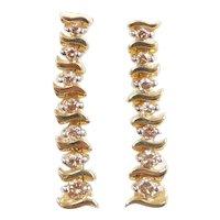 Champagne / Chocolate Diamond .77 ctw S Link Dangle Earrings 14k Gold