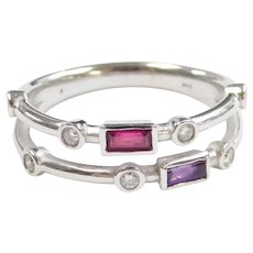 Created Ruby, Amethyst and Diamond .43 ctw Ring 14k White Gold