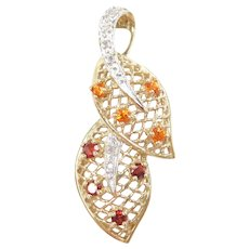 Mexican Fire Opal, Garnet and Diamond .59 ctw Leaf Pendant 10k Gold Two-Tone