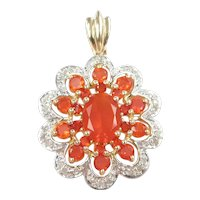 Mexican Fire Opal and Diamond 1.49 ctw Pendant 10k Gold Two-Tone