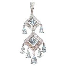 Aquamarine and Diamond 2.79 ctw Chandelier Pendant 10k White Gold