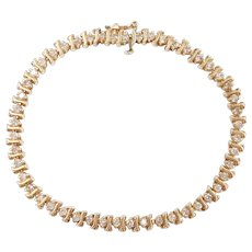 Diamond 1.47 ctw S-Link Tennis Bracelet 14k Gold