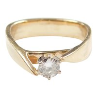 Modernist Diamond .23 Carat Solitaire Ring 14k Gold