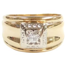 Vintage Diamond .16 Carat Solitaire Ring 14k Gold Two-Tone