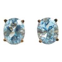 Sky Blue Topaz 7.00 ctw Ornate Stud Earrings 14k Gold
