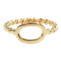 Oval Top Fashion Ring with Twisted Shank 18k Gold