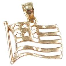 American Flag Charm / Pendant 10k Gold