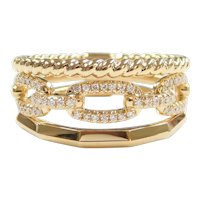 "Diamond .138 ctw ""Stacking"" Link Ring 18k Gold Designer Inspired"