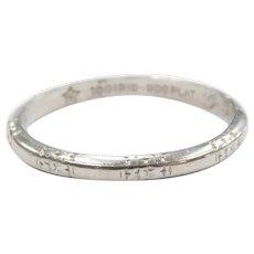 Art Deco Etched Wedding Band Ring Platinum