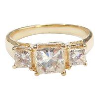 Moissanite 2.08 ctw Three Stone Ring 14k Gold