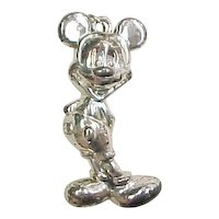 Sterling Silver Puff Mickey Mouse Pendant ~ DLC Three Dimensional Official Licensed Disney