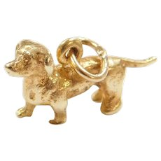 14k Gold Solid Dachshund Dog Charm ~ Three Dimensional