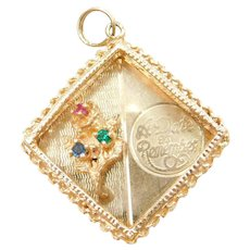 14k Gold A Date To Remember Charm with Flower and Glass Accents ~ Anniversary