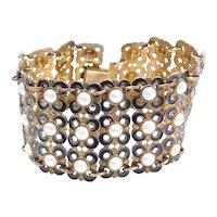 """7 1/2"""" David Andersen Norway Sterling Silver Gold Wash Enamel Floral Link Bracelet ~ Wide"""