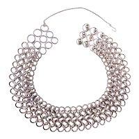 Vintage 1980's David Yurman Chunky Circle Link Choker Necklace Sterling Silver