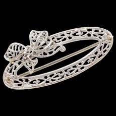Art Deco 10k White Gold Oval Bow Pin / Brooch